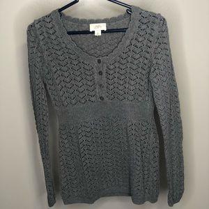 Loft Ann Taylor Gray Knit Button Up Sweater
